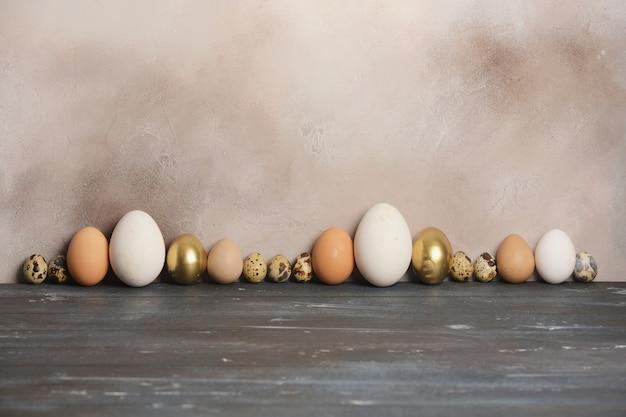 灰色の古い壁に、さまざまなサイズと色のウズラ、鶏、ガチョウ、ホロホロチョウの卵が並んでいます。