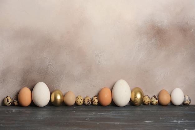 さまざまなサイズと色のウズラ、鶏、ガチョウ、ホロホロ鳥の卵が古い壁に並んでいます。