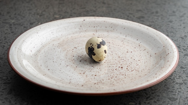 Quail egg on the gray plate, eco product, easter holiday