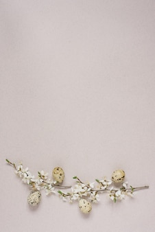 Quail eggs on a beige background with spring branches with flowers, happy easter greeting card.