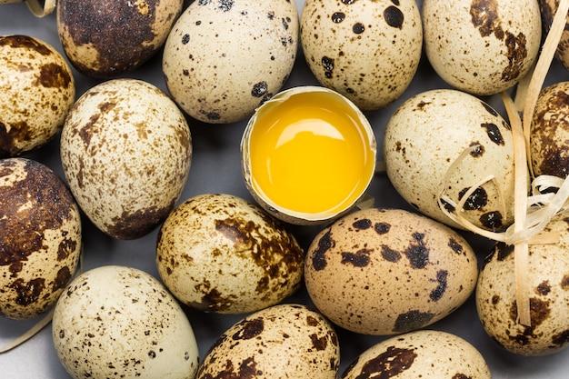 메추라기 알을 닫습니다. 깨진 달걀. 평평하다.