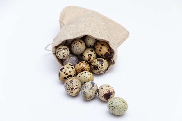 Quail eggs in fabric holder