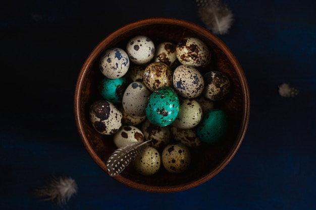 Quail eggs and feathers in a bowl