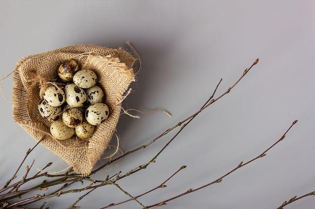 木の枝の隣にある黄麻布の巣のウズラの卵。エレガントなイースターの背景、テキストの場所、選択的な焦点。