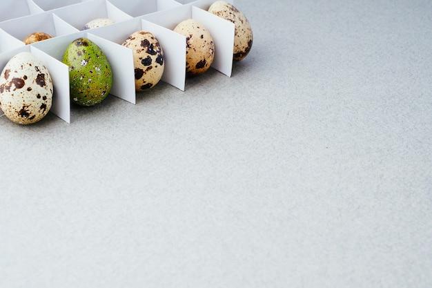 グリッドのウズラの卵と灰色の背景に描かれたイースターエッグ。イースタークリエイティブコンセプト、コピースペース。イースターのための伝統的な準備。