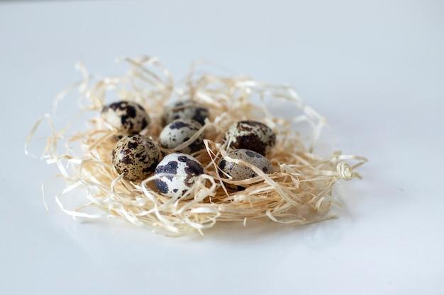 籐の巣の中のウズラの卵