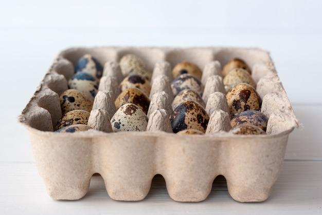 Перепелиные яйца в картонной упаковке крупным планом