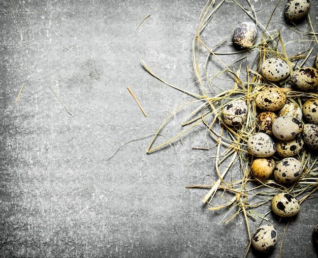 石のテーブルの干し草のウズラの卵。