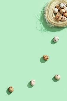 薄緑色のわらの巣のウズラの卵。上面図春イースター休暇の背景。