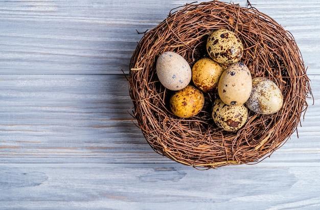 巣の中のウズラの卵。木製の背景。上面図。フリースペース。