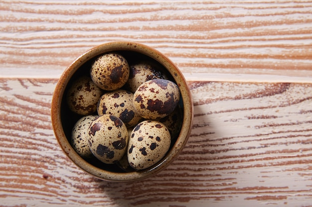 Quail eggs in a little bowl with nest shape