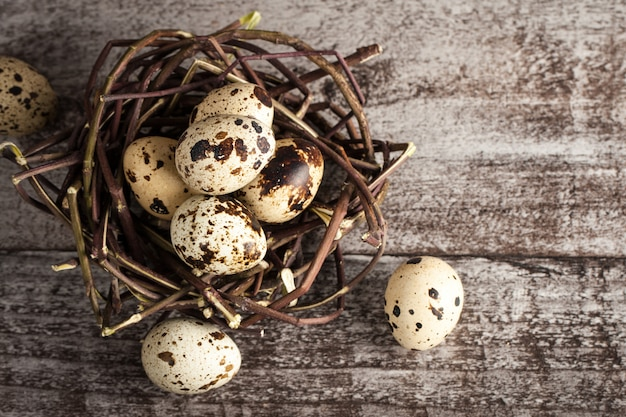 Quail eggs in a nest on a rustic wooden background. healthy food concept
