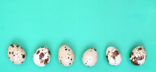 Перепелиные яйца на светло-зеленой поверхности, вид сверху, пустое место для текста, рецепт