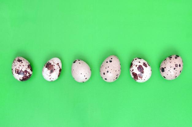 Перепелиные яйца на светло-зеленой поверхности, вид сверху