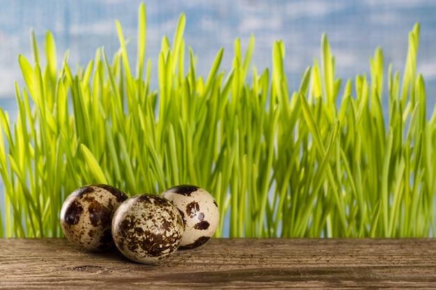 草と木製のテーブルの上のウズラの卵