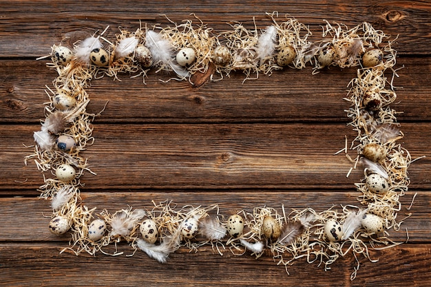 Quail eggs on rustic wooden surface