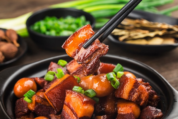 Quail eggs stew with belly pork(chinese food)