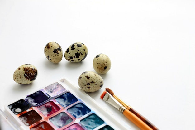 Quail eggs, watercolor paints and brushes on a blue background