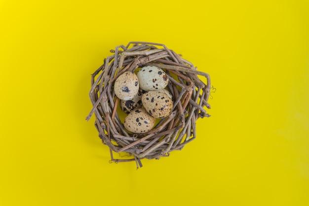 黄色の背景に卵とウズラの巣。はがきとデザインのトップビュー