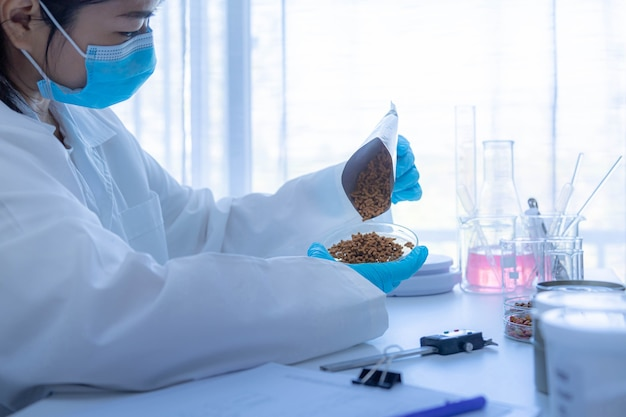 Quality control personnel are inspecting the quality of pet food. quality control process in pet food industry.