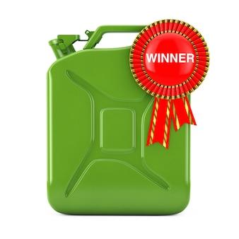 Концепция качества топлива. зеленая металлическая топливная канистра с красной лентой награды и знаком победителя на белом фоне. 3d рендеринг