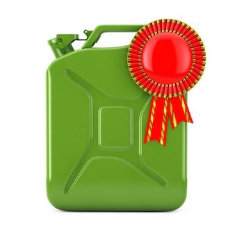 Концепция качества топлива. зеленая металлическая топливная канистра с красной розеткой ленты награды на белом фоне. 3d рендеринг