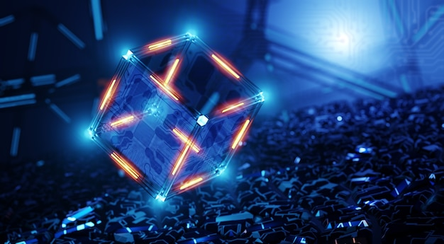 Quantum computer. machine learning. network structure of technology. blockchain technology concept. digital background. neural network.
