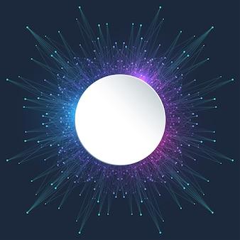Quantum computer technology banner design template concept. deep learning artificial intelligence. big data algorithms visualization for business, science, technology. waves flow, illustration.