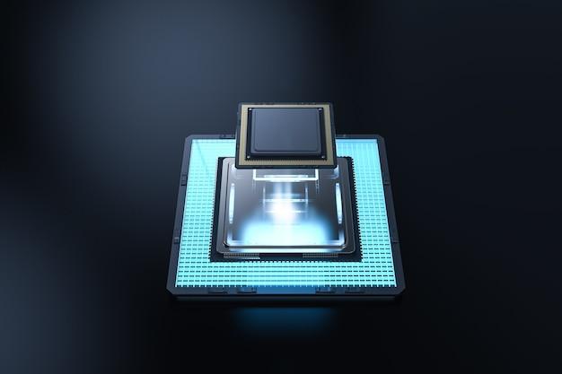 Концепция квантовых компьютерных технологий с чипами процессора 3d-рендеринга на борту