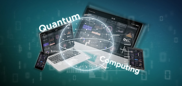 Quantum computing concept with qubit and devices 3d rendering