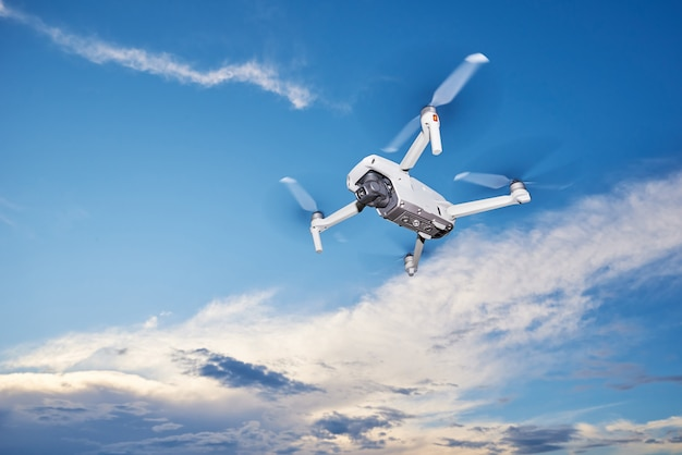 Quapcopter flying in the sky