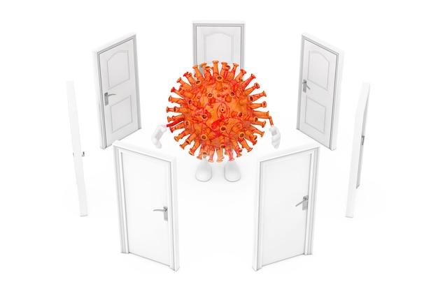 격리 개념입니다. 흰색 배경에 만화 코로나바이러스 covid-19 마스코트 인물 주변의 닫힌 문. 3d 렌더링