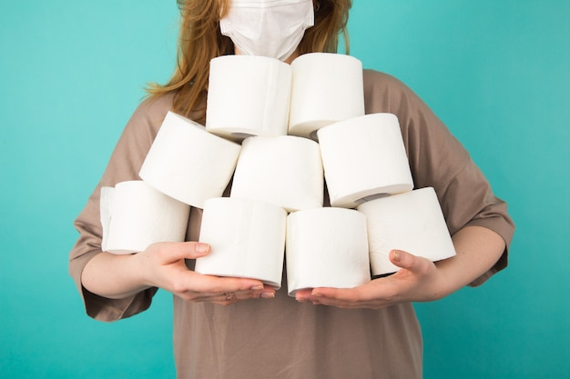 Quarantine and coronavirus panic concept. woman holding paper isolated. crisis and pandemic.