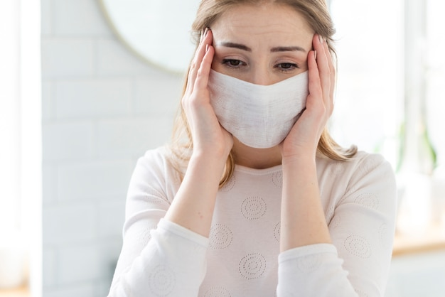 Quarantine daily activities and woman with mask