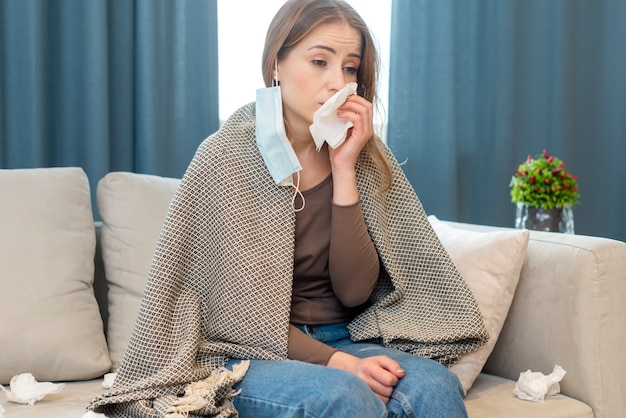 Quarantine daily activities and woman with runny nose