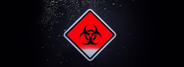 Карантин. знак карантина на стеклянной двери изолятора больницы. изоляция больных вирусом в специальных лабораториях. вирус.