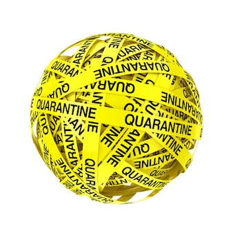 Quarantine yellow tape strips in shape of ball or sphere on a white background. 3d rendering