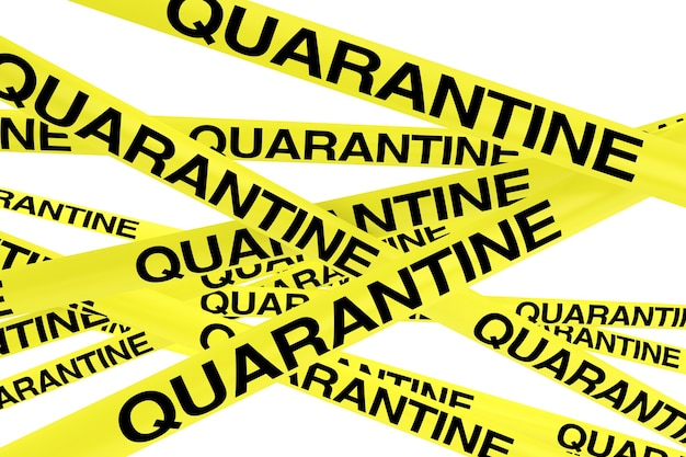 Quarantine yellow tape strips on a white background. 3d rendering