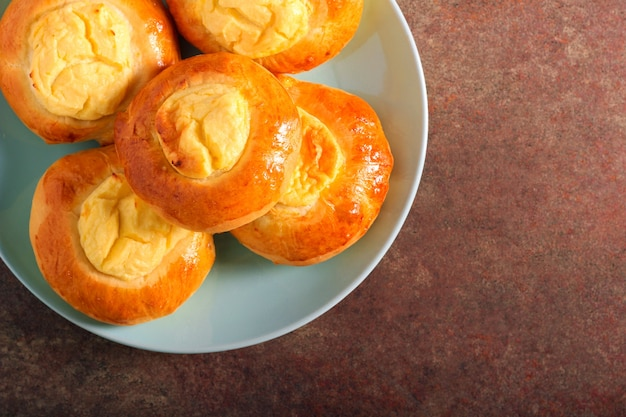 Quark cheese filling buns on plate