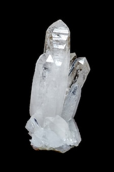 Quartz crystal on black background