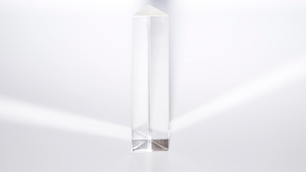 Quartz crystal pyramid on white background