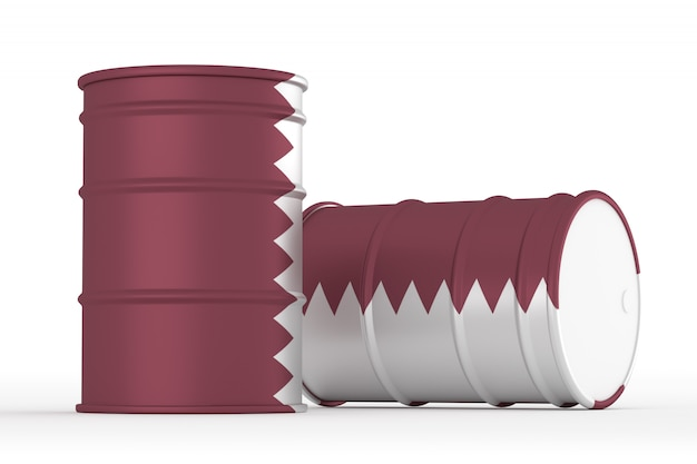 Quatar oil styled flag barrels isolated