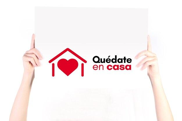Quedate en casa оставайтесь дома в испании кампания против коронавируса covid19 2019ncov плакат для печати и марок сообщение изолировано