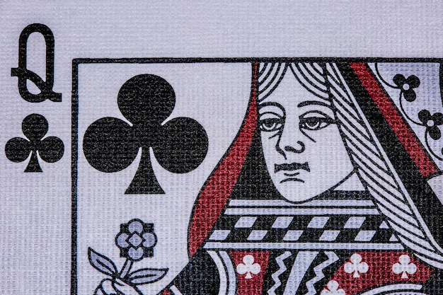 Queen of clubs. poker casino playing cards