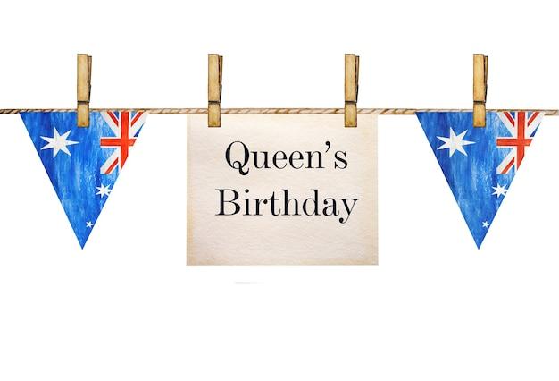 День рождения королевы. красивая, яркая открытка. крупным планом, вид сверху. концепция национального праздника.