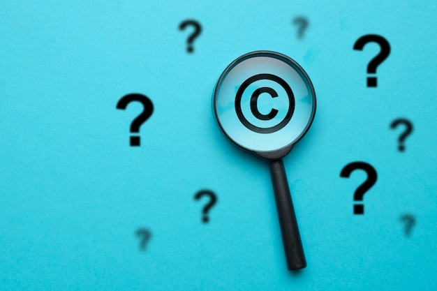 Question and answer concept in the field of copyright.