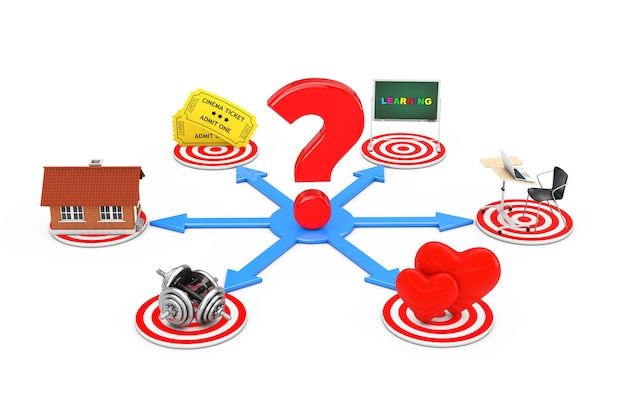 Question mark over blue arrows as different choise in life on a white background. 3d rendering. Premium Photo