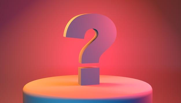 Question mark on circular pedestal in pastel orange colors. 3d illustration.