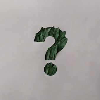 Question mark cut out of grey paper with fresh green leaves protruding through and copy space in a conceptual image for environmental or ecological themes