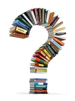 책에서 물음표입니다. 검색 정보 또는 faq 교육 개념 3d